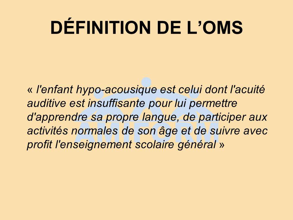 DÉFINITION DE LOMS « l'enfant hypo-acousique est celui dont l'acuité auditive est insuffisante pour lui permettre d'apprendre sa propre langue, de par