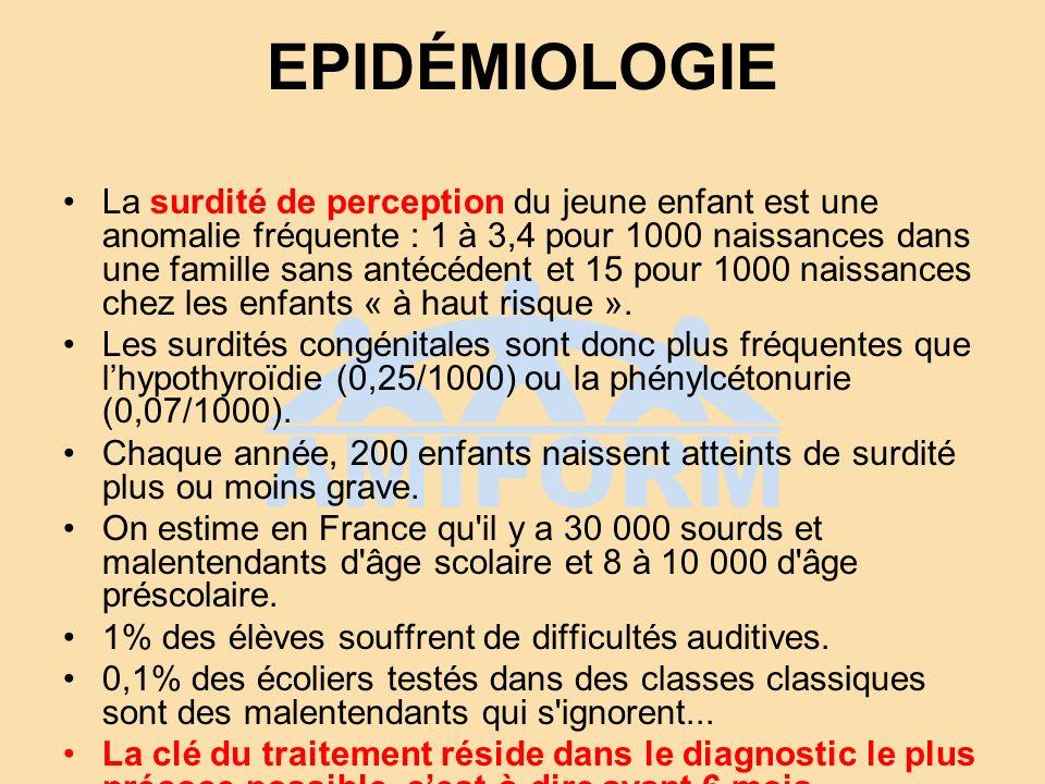 EPIDÉMIOLOGIE La surdité de perception du jeune enfant est une anomalie fréquente : 1 à 3,4 pour 1000 naissances dans une famille sans antécédent et 1