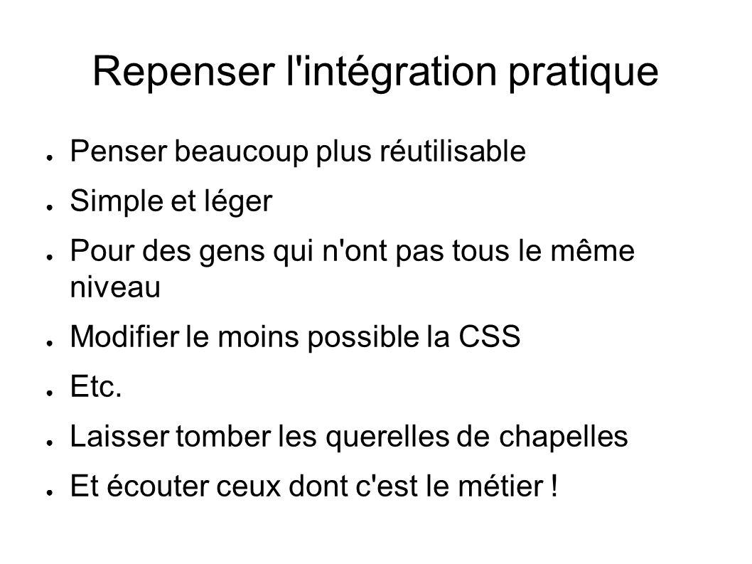 Repenser l intégration pratique Penser beaucoup plus réutilisable Simple et léger Pour des gens qui n ont pas tous le même niveau Modifier le moins possible la CSS Etc.