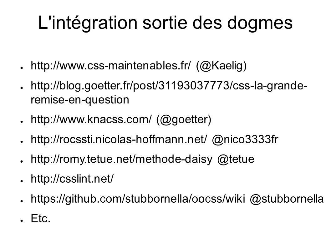 http://www.css-maintenables.fr/ (@Kaelig) http://blog.goetter.fr/post/31193037773/css-la-grande- remise-en-question http://www.knacss.com/ (@goetter) http://rocssti.nicolas-hoffmann.net/ @nico3333fr http://romy.tetue.net/methode-daisy @tetue http://csslint.net/ https://github.com/stubbornella/oocss/wiki @stubbornella Etc.