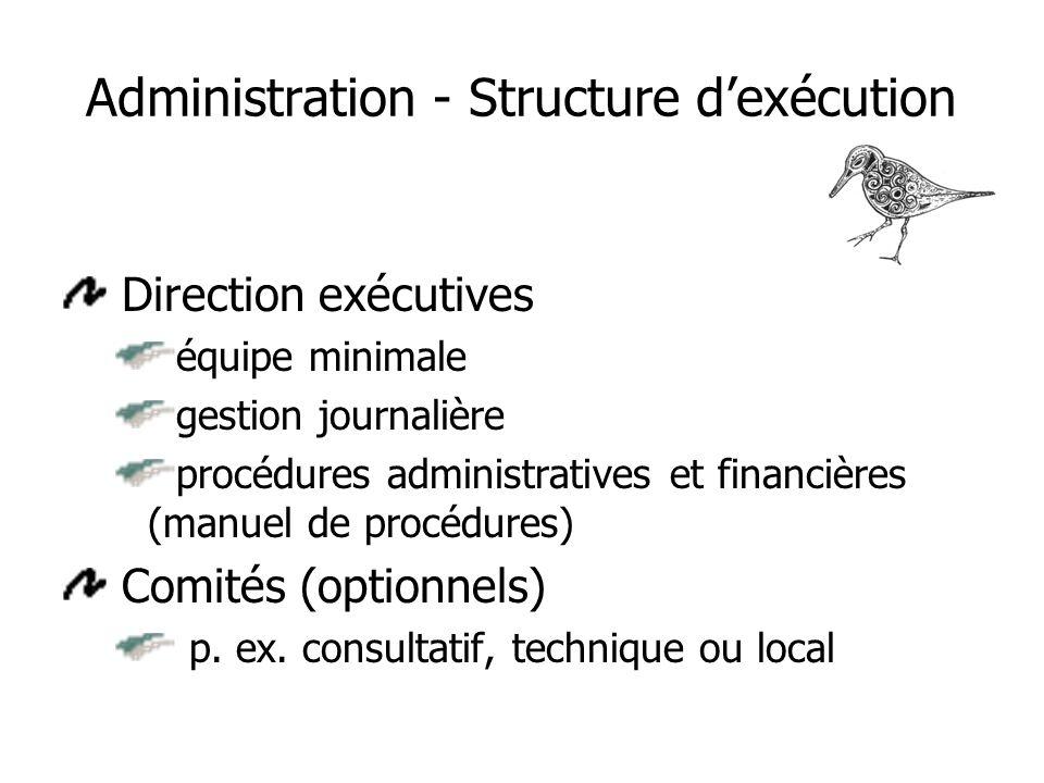 Administration - Structure dexécution Direction exécutives équipe minimale gestion journalière procédures administratives et financières (manuel de procédures) Comités (optionnels) p.