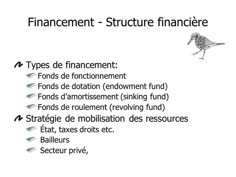 Financement - Structure financière Types de financement: Fonds de fonctionnement Fonds de dotation (endowment fund) Fonds damortissement (sinking fund) Fonds de roulement (revolving fund) Stratégie de mobilisation des ressources État, taxes droits etc.