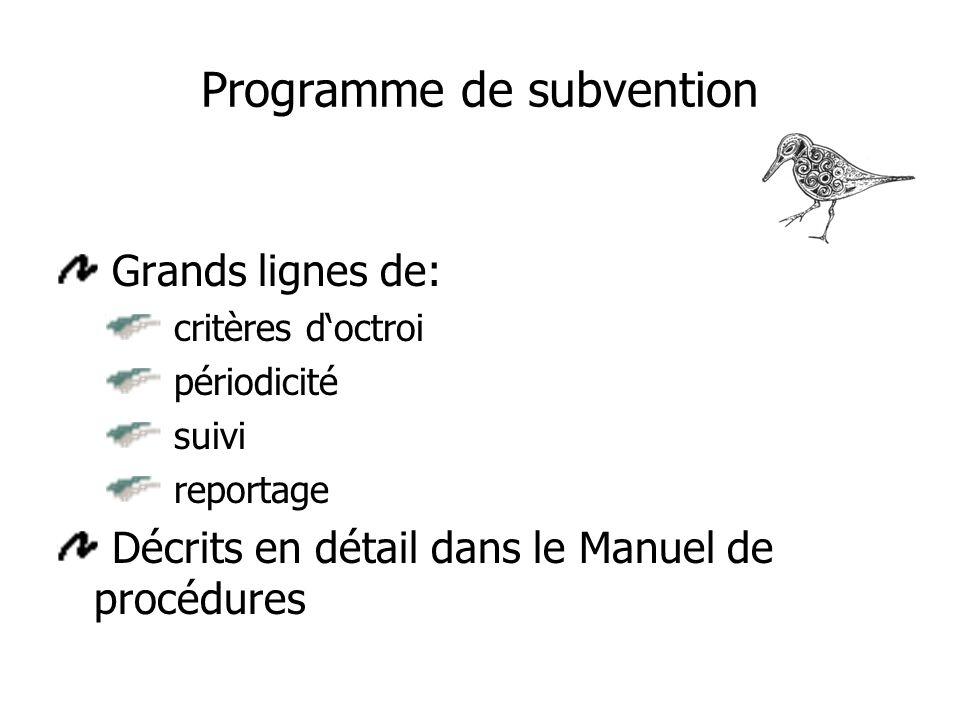 Programme de subvention Grands lignes de: critères doctroi périodicité suivi reportage Décrits en détail dans le Manuel de procédures