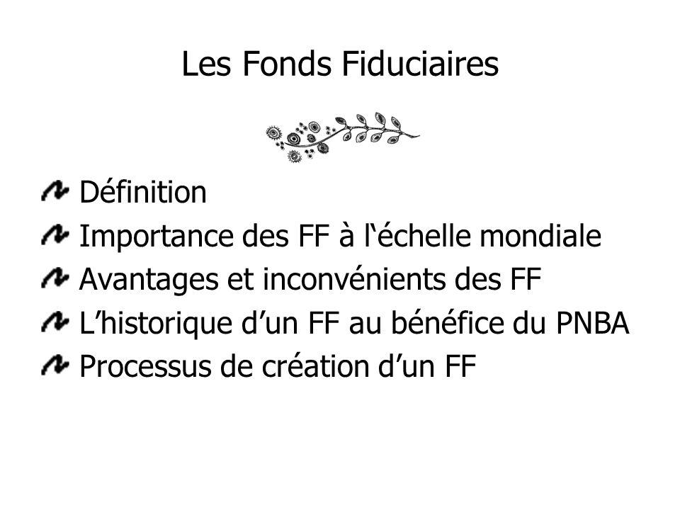 Les Fonds Fiduciaires Définition Importance des FF à léchelle mondiale Avantages et inconvénients des FF Lhistorique dun FF au bénéfice du PNBA Processus de création dun FF
