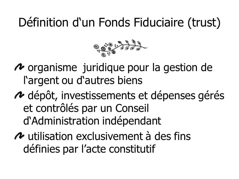 Définition dun Fonds Fiduciaire (trust) organisme juridique pour la gestion de largent ou dautres biens dépôt, investissements et dépenses gérés et contrôlés par un Conseil dAdministration indépendant utilisation exclusivement à des fins définies par lacte constitutif