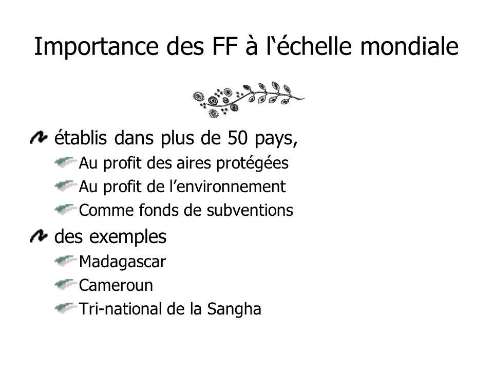 Importance des FF à léchelle mondiale établis dans plus de 50 pays, Au profit des aires protégées Au profit de lenvironnement Comme fonds de subventions des exemples Madagascar Cameroun Tri-national de la Sangha