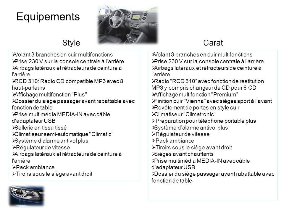 Equipements StyleCarat Volant 3 branches en cuir multifonctions Prise 230 V sur la console centrale à l'arrière Airbags latéraux et rétracteurs de cei