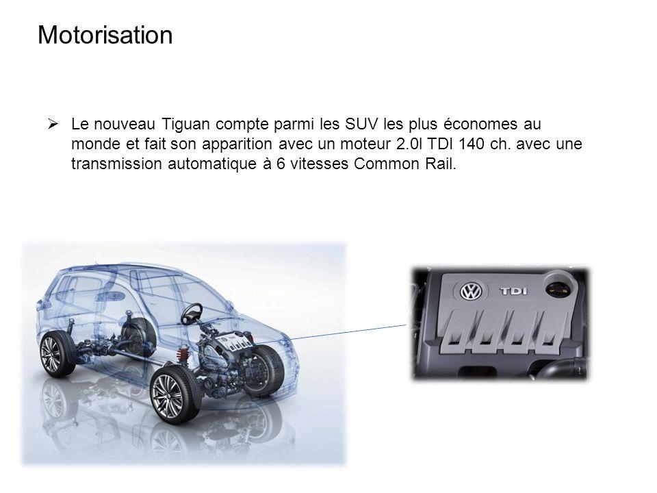 Motorisation Le nouveau Tiguan compte parmi les SUV les plus économes au monde et fait son apparition avec un moteur 2.0l TDI 140 ch. avec une transmi