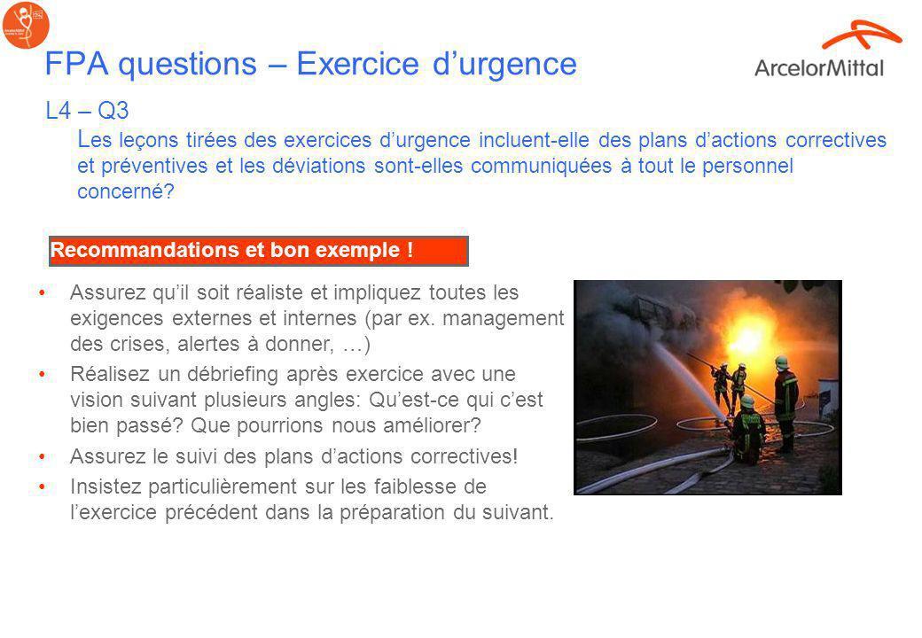 FPA questions – Emergency drills L4 – Q2 Des exercices durgences sont-ils conduit annuellement pour tester les Plan de Réponse aux Situation dUrgence