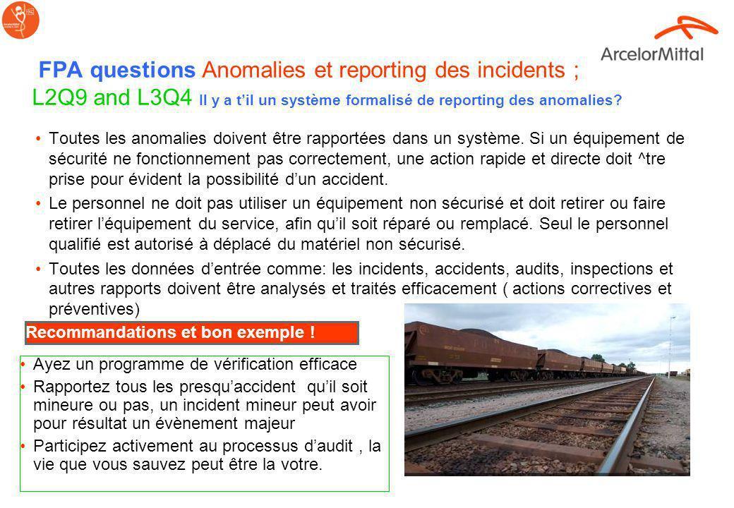 FPA questions Urgences et rail; L1Q15 Des communications formalisées sur les procédure durgence ont-elles été faites auprès du personnel et ont-elles