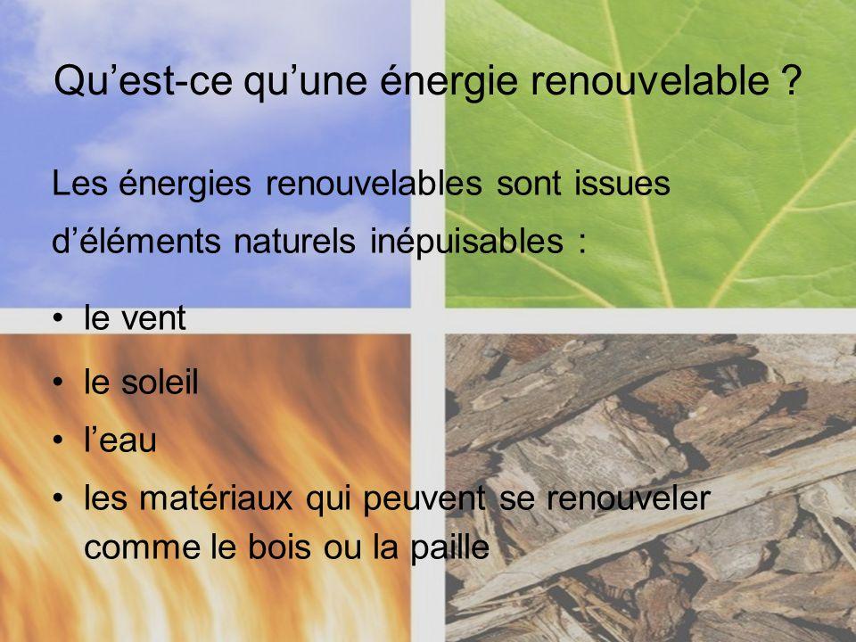 Quest-ce quune énergie renouvelable ? Les énergies renouvelables sont issues déléments naturels inépuisables : le vent le soleil leau les matériaux qu