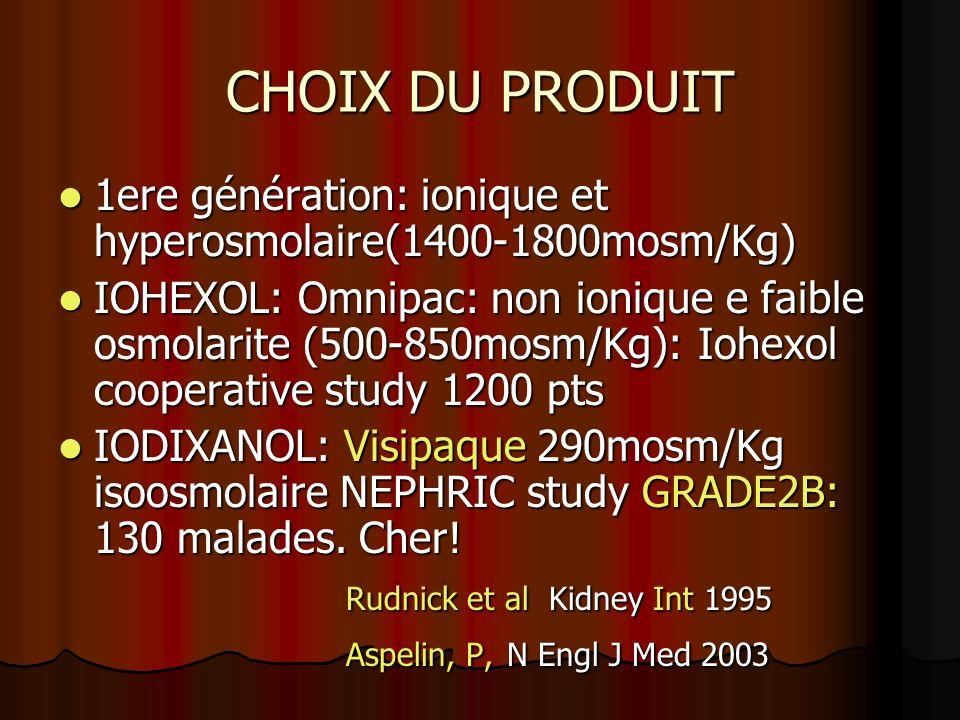 CHOIX DU PRODUIT 1ere génération: ionique et hyperosmolaire(1400-1800mosm/Kg) 1ere génération: ionique et hyperosmolaire(1400-1800mosm/Kg) IOHEXOL: Om