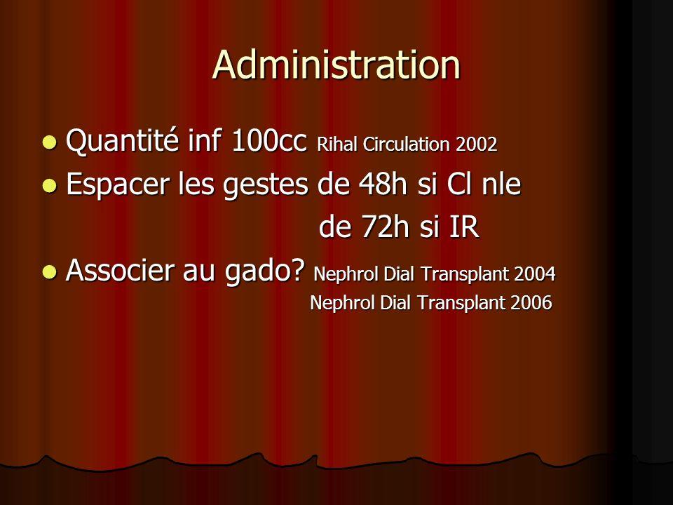 Administration Quantité inf 100cc Rihal Circulation 2002 Quantité inf 100cc Rihal Circulation 2002 Espacer les gestes de 48h si Cl nle Espacer les ges