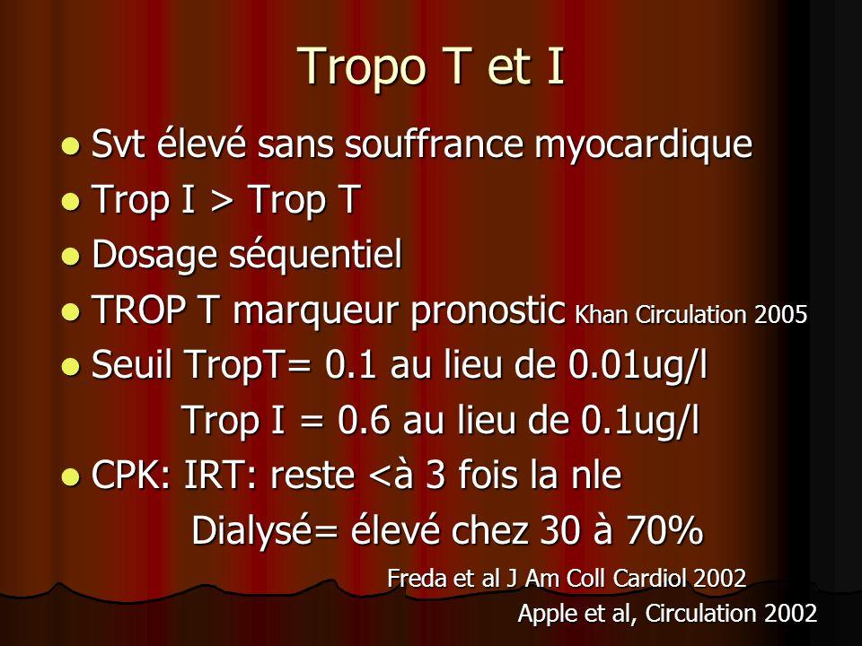 Tropo T et I Svt élevé sans souffrance myocardique Svt élevé sans souffrance myocardique Trop I > Trop T Trop I > Trop T Dosage séquentiel Dosage séqu
