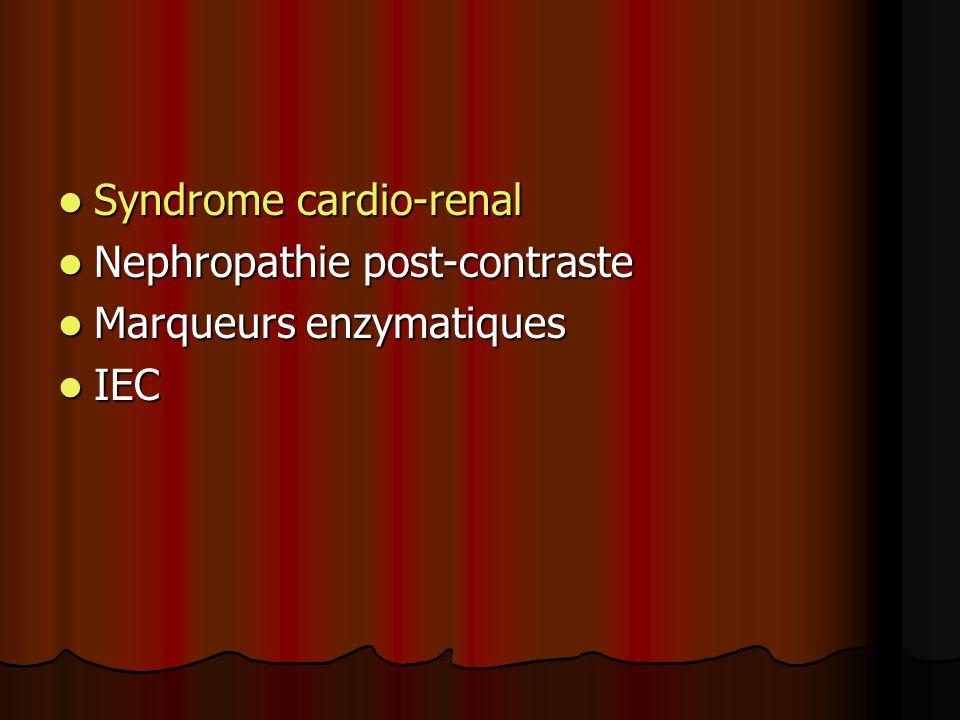 SYNDROME CARDIO-RENAL Un organe ne compense pas la dysfonction de lautre Un organe ne compense pas la dysfonction de lautre Aggravation de la fonction rénale chez les patients en IC Aggravation de la fonction rénale chez les patients en IC Résistance aux diuretiques Résistance aux diuretiques