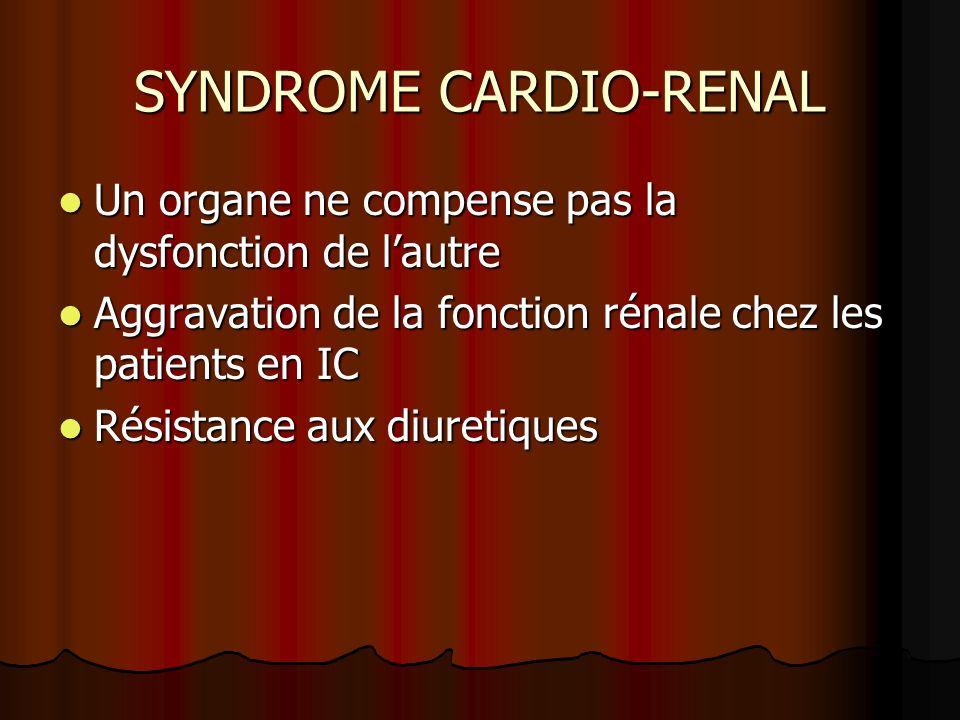 SYNDROME CARDIO-RENAL Un organe ne compense pas la dysfonction de lautre Un organe ne compense pas la dysfonction de lautre Aggravation de la fonction