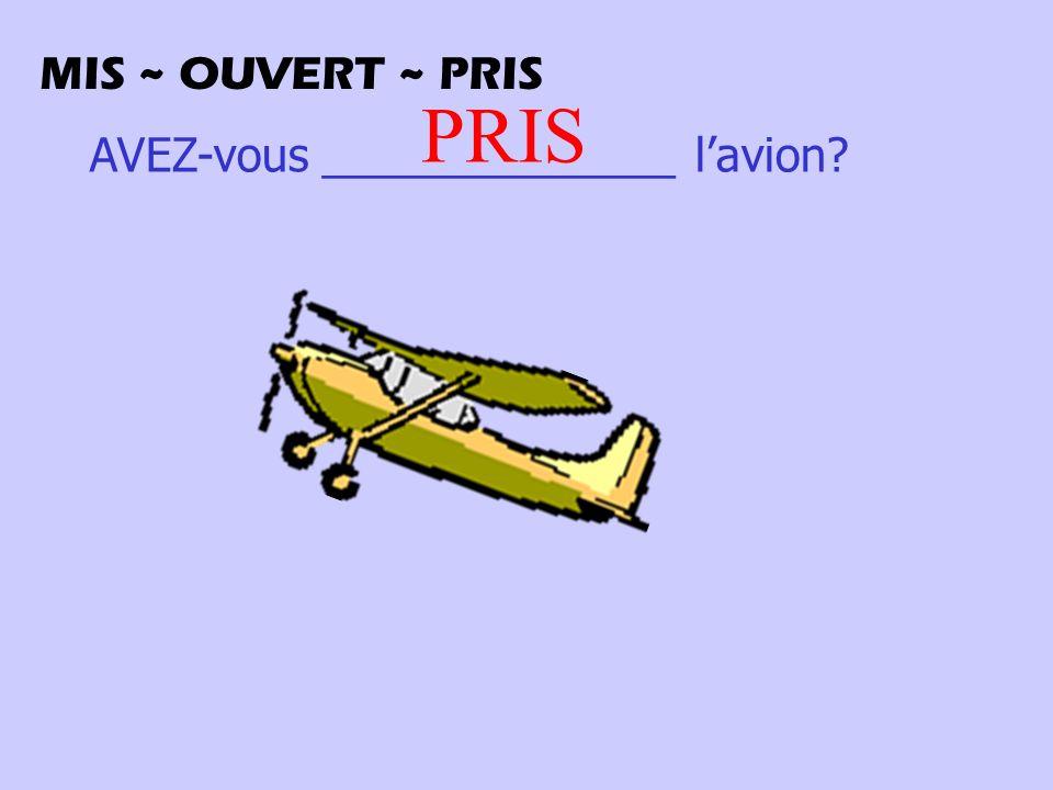 AVEZ-vous ______________ lavion? PRIS MIS ~ OUVERT ~ PRIS