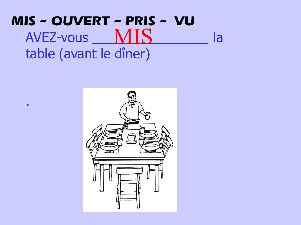 AVEZ-vous ________________ la table (avant le dîner).. MIS MIS ~ OUVERT ~ PRIS ~ VU