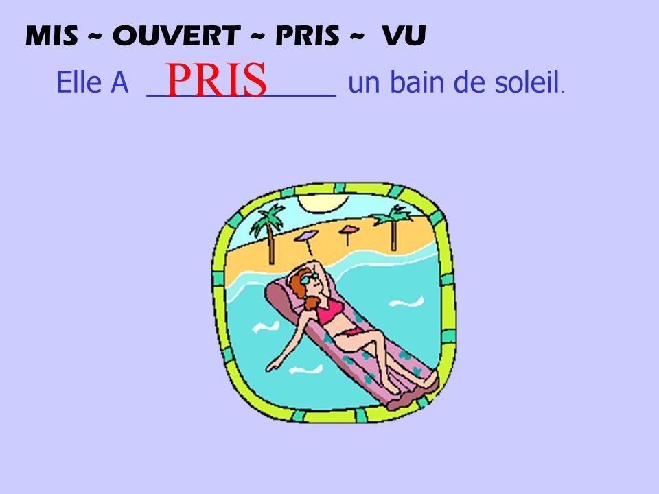 Elle A ____________ un bain de soleil. PRIS MIS ~ OUVERT ~ PRIS ~ VU