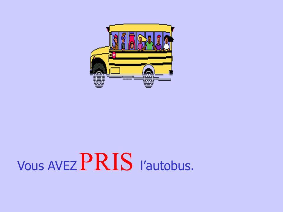 Nous AVONS _________ la Tour Eiffel. VU MIS ~ OUVERT~ PRIS ~ VU