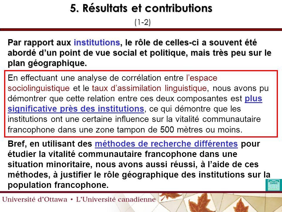 5. Résultats et contributions (1-2) Par rapport aux institutions, le rôle de celles-ci a souvent été abordé dun point de vue social et politique, mais