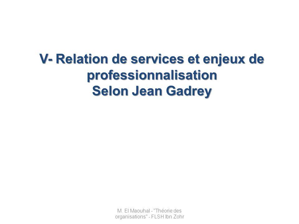 V- Relation de services et enjeux de professionnalisation Selon Jean Gadrey M. El Maouhal -