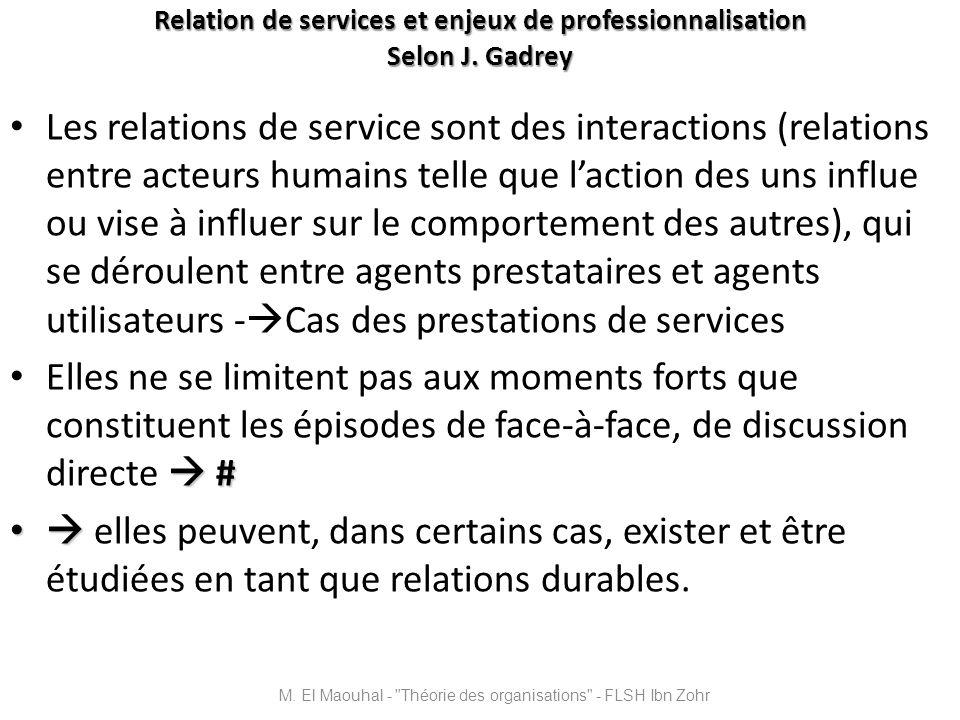 Relation de services et enjeux de professionnalisation Selon J. Gadrey Les relations de service sont des interactions (relations entre acteurs humains
