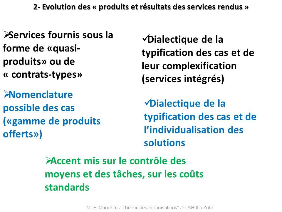 2- Evolution des « produits et résultats des services rendus » Services fournis sous la forme de «quasi- produits» ou de « contrats-types» Nomenclatur