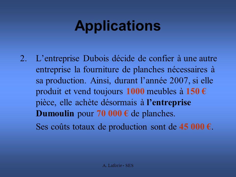 A. Laforie - SES Applications 2.Lentreprise Dubois décide de confier à une autre entreprise la fourniture de planches nécessaires à sa production. Ain