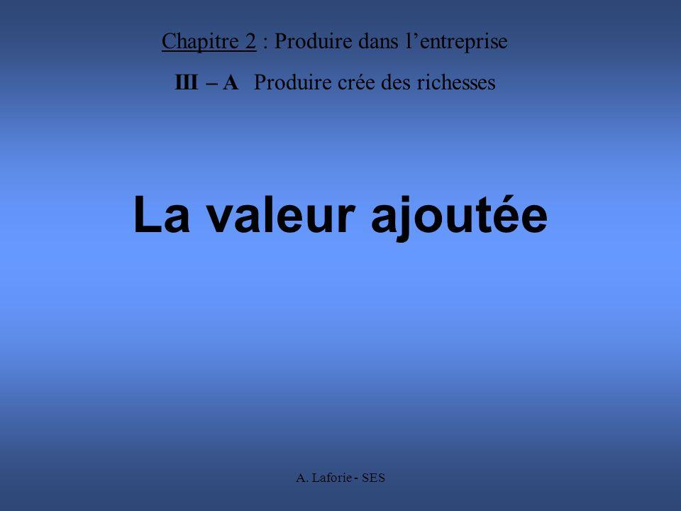 A. Laforie - SES La valeur ajoutée Chapitre 2 : Produire dans lentreprise III – A Produire crée des richesses