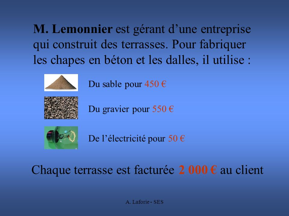 A. Laforie - SES M. Lemonnier est gérant dune entreprise qui construit des terrasses. Pour fabriquer les chapes en béton et les dalles, il utilise : C