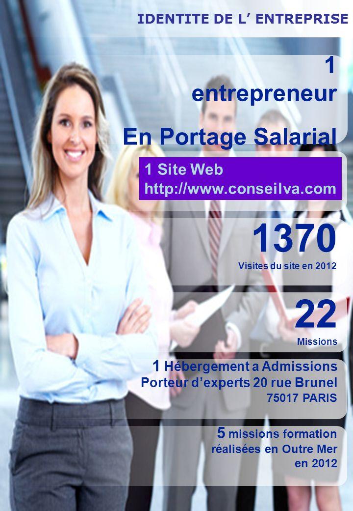 IDENTITE DE L ENTREPRISE 1 entrepreneur En Portage Salarial 1370 Visites du site en 2012 22 Missions 1 Hébergement a Admissions Porteur dexperts 20 ru