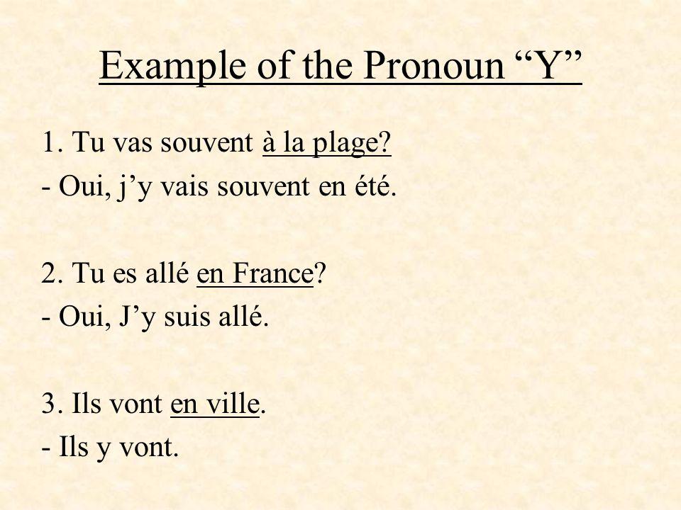 Example of the Pronoun Y 1. Tu vas souvent à la plage? - Oui, jy vais souvent en été. 2. Tu es allé en France? - Oui, Jy suis allé. 3. Ils vont en vil