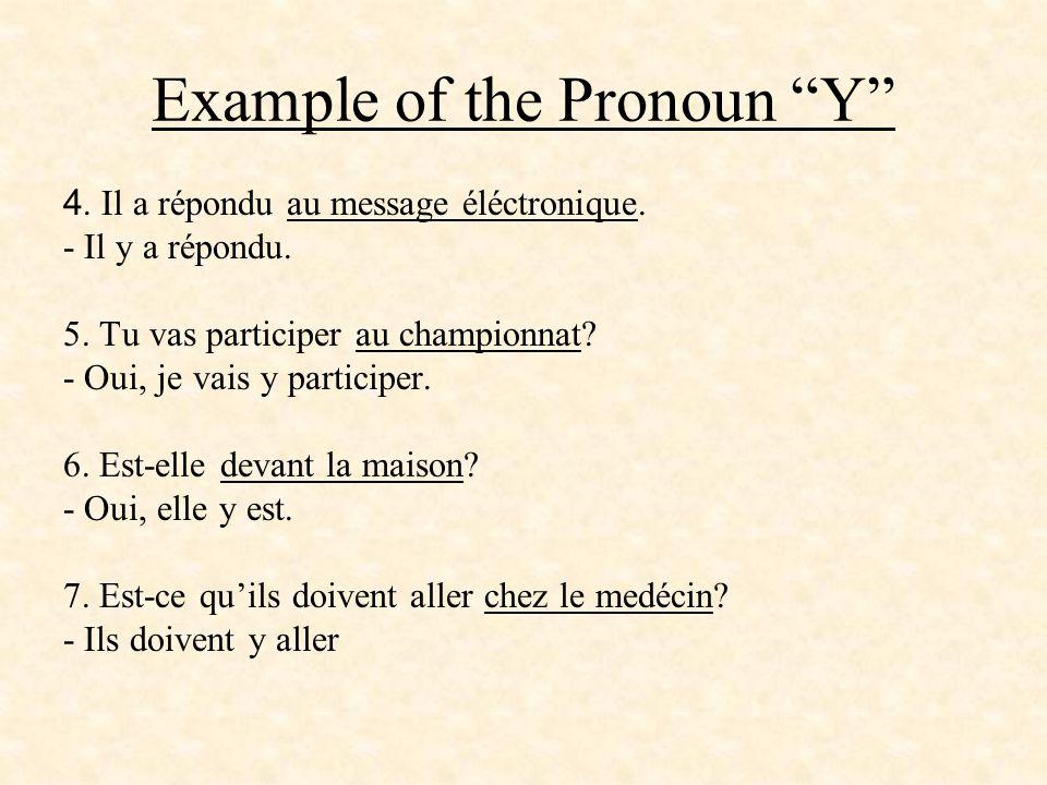 Example of the Pronoun Y 4. Il a répondu au message éléctronique. - Il y a répondu. 5. Tu vas participer au championnat? - Oui, je vais y participer.