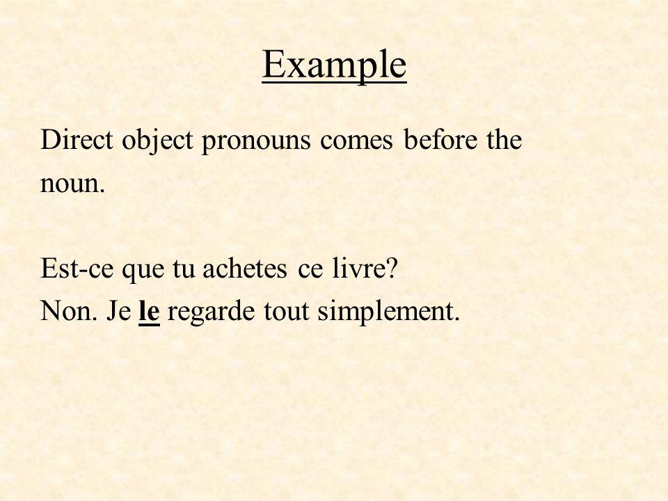Example Direct object pronouns comes before the noun. Est-ce que tu achetes ce livre? Non. Je le regarde tout simplement.