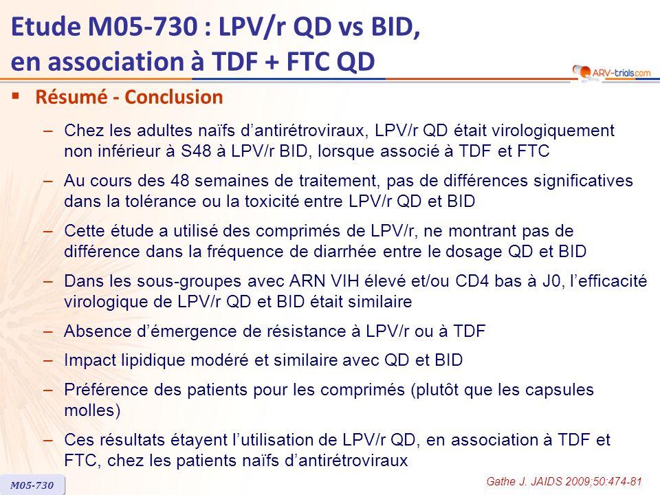 Etude M05-730 : LPV/r QD vs BID, en association à TDF + FTC QD Résumé - Conclusion –Chez les adultes naïfs dantirétroviraux, LPV/r QD était virologiquement non inférieur à S48 à LPV/r BID, lorsque associé à TDF et FTC –Au cours des 48 semaines de traitement, pas de différences significatives dans la tolérance ou la toxicité entre LPV/r QD et BID –Cette étude a utilisé des comprimés de LPV/r, ne montrant pas de différence dans la fréquence de diarrhée entre le dosage QD et BID –Dans les sous-groupes avec ARN VIH élevé et/ou CD4 bas à J0, lefficacité virologique de LPV/r QD et BID était similaire –Absence démergence de résistance à LPV/r ou à TDF –Impact lipidique modéré et similaire avec QD et BID –Préférence des patients pour les comprimés (plutôt que les capsules molles) –Ces résultats étayent lutilisation de LPV/r QD, en association à TDF et FTC, chez les patients naïfs dantirétroviraux M05-730 Gathe J.
