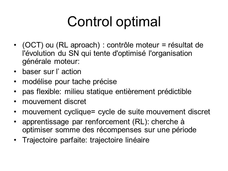Control optimal (OCT) ou (RL aproach) : contrôle moteur = résultat de l'évolution du SN qui tente d'optimisé l'organisation générale moteur: baser sur