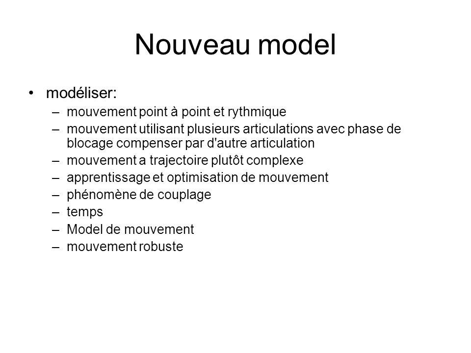 Nouveau model modéliser: –mouvement point à point et rythmique –mouvement utilisant plusieurs articulations avec phase de blocage compenser par d'autr