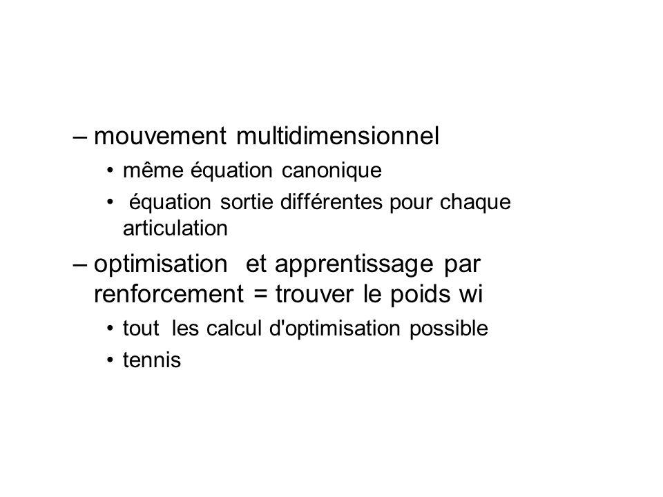 –mouvement multidimensionnel même équation canonique équation sortie différentes pour chaque articulation –optimisation et apprentissage par renforcem