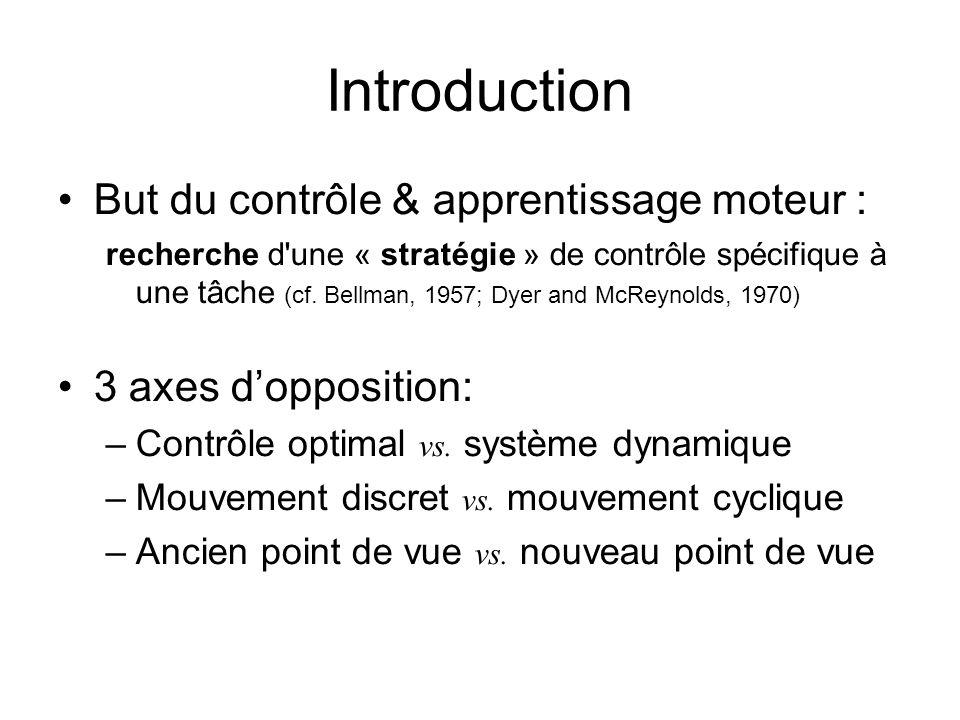 Introduction But du contrôle & apprentissage moteur : recherche d'une « stratégie » de contrôle spécifique à une tâche (cf. Bellman, 1957; Dyer and Mc