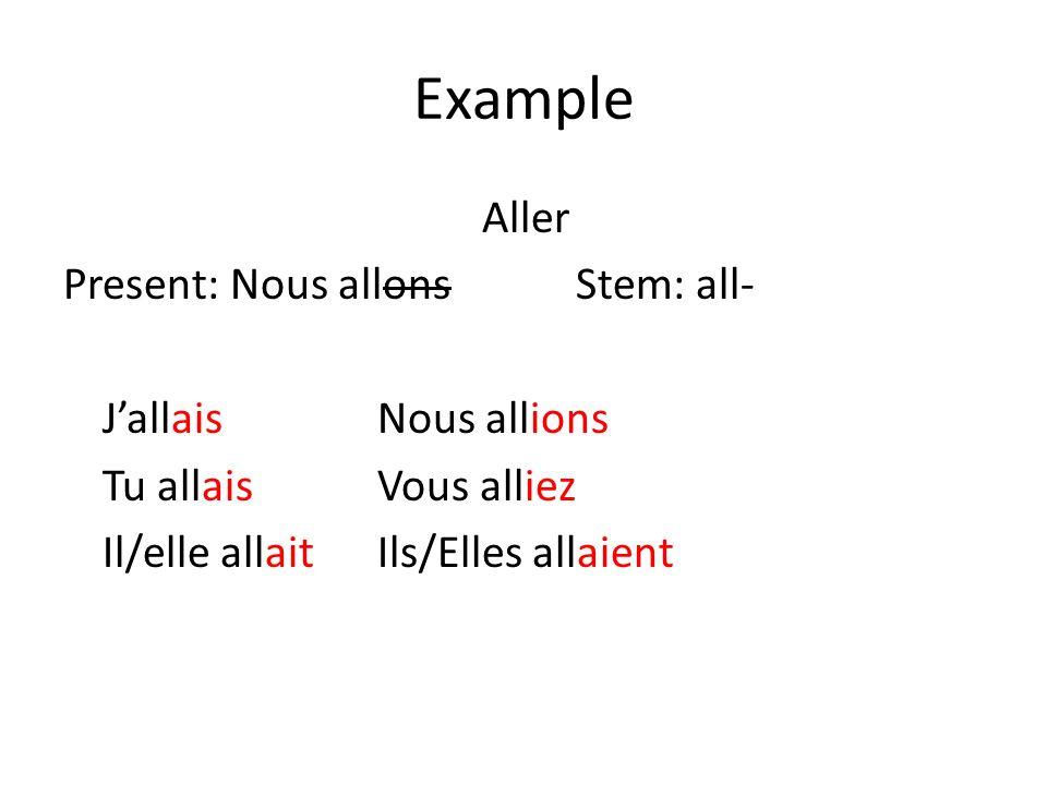 Example Aller Present: Nous allons Stem: all- JallaisNous allions Tu allaisVous alliez Il/elle allaitIls/Elles allaient