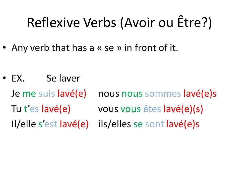 Reflexive Verbs (Avoir ou Être?) Any verb that has a « se » in front of it. EX. Se laver Je me suis lavé(e)nous nous sommes lavé(e)s Tu tes lavé(e)vou