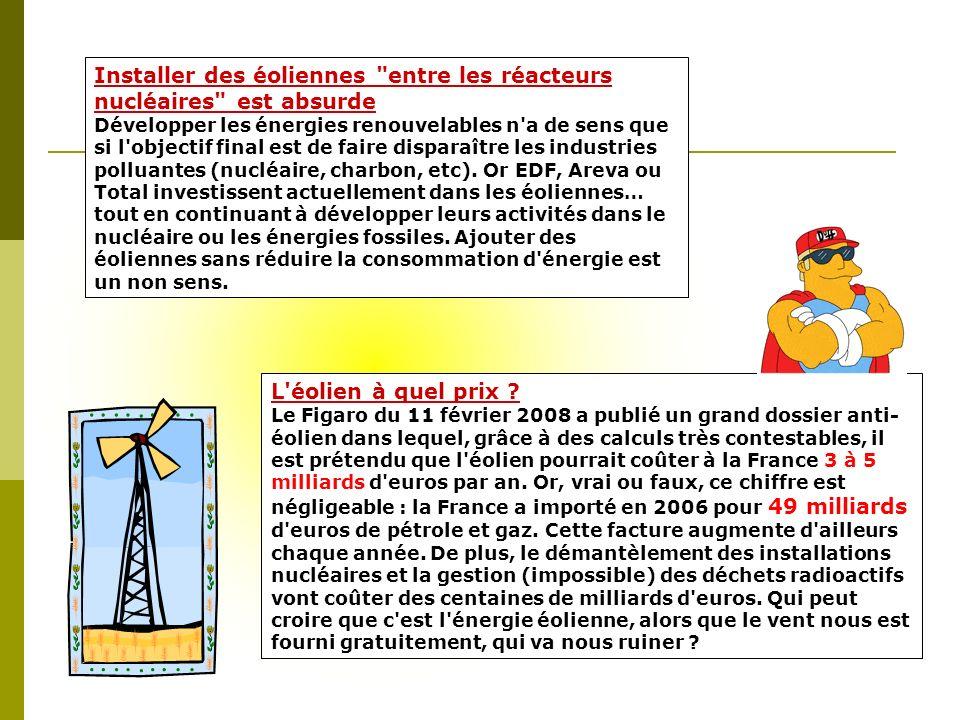 Installer des éoliennes entre les réacteurs nucléaires est absurde Développer les énergies renouvelables n a de sens que si l objectif final est de faire disparaître les industries polluantes (nucléaire, charbon, etc).