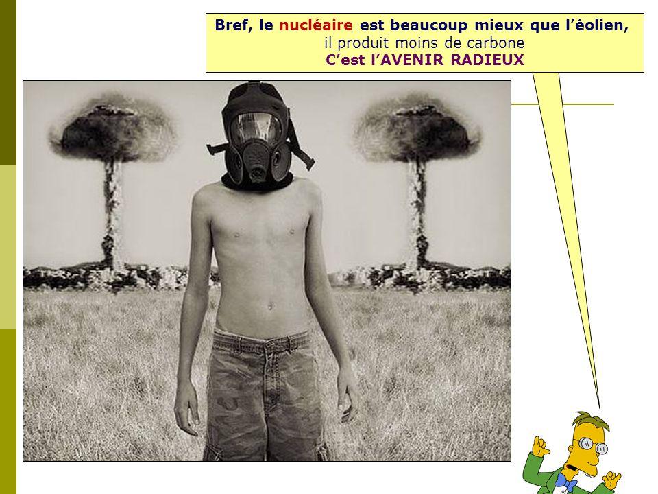 Bref, le nucléaire est beaucoup mieux que léolien, il produit moins de carbone Cest lAVENIR RADIEUX
