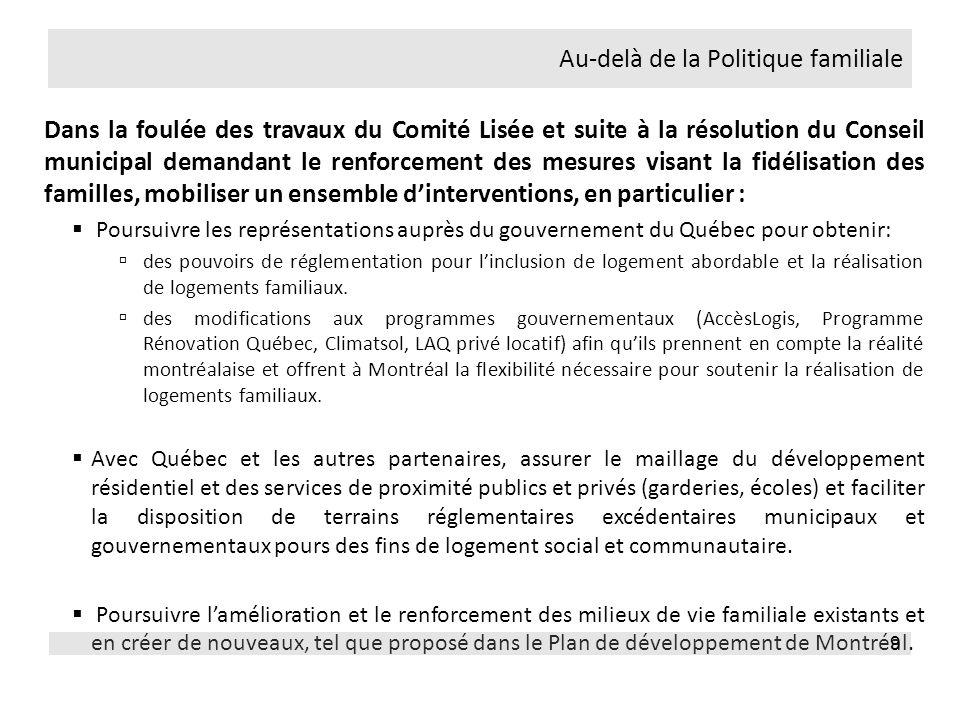 Nécessite la collaboration du gouvernement du Québec (réglementaire et monétaire) et de lensemble des acteurs impliqués, notamment les promoteurs privés et sociaux, divers intermédiaires, les arrondissements et dautres services municipaux, les commissions scolaires et les ministères.