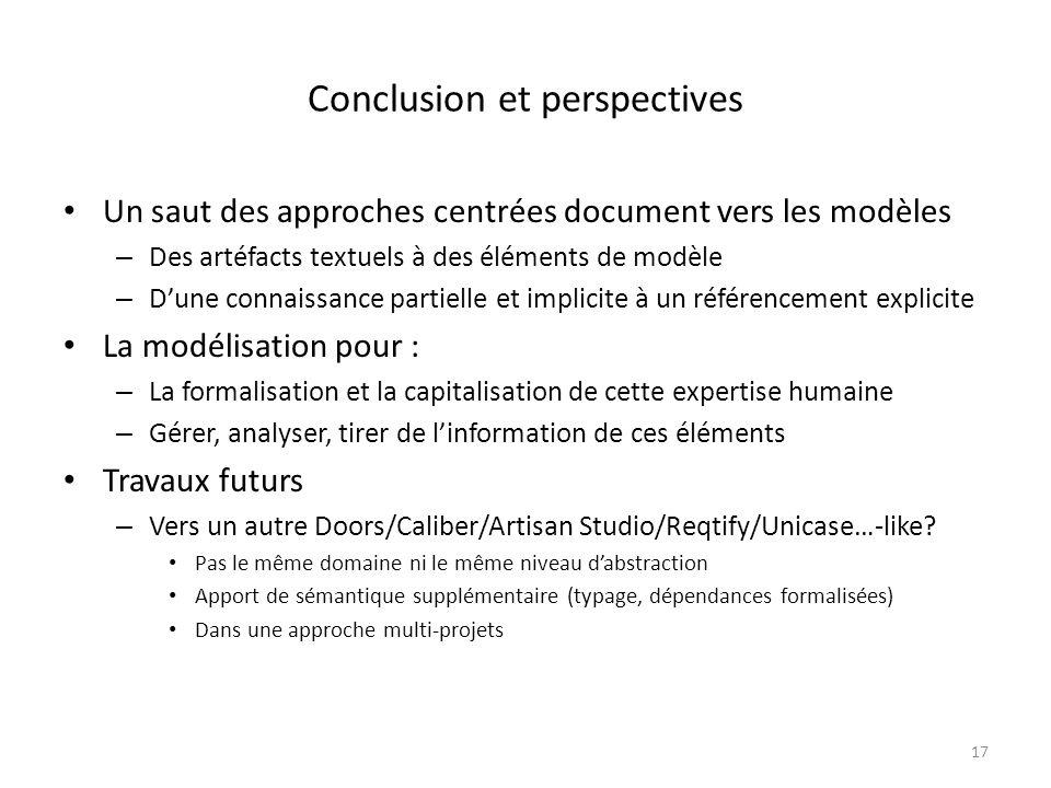 Conclusion et perspectives Un saut des approches centrées document vers les modèles – Des artéfacts textuels à des éléments de modèle – Dune connaissa