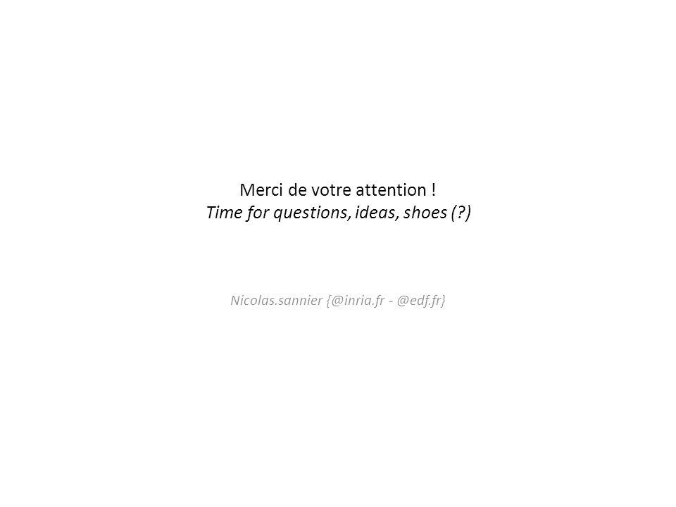 Merci de votre attention ! Time for questions, ideas, shoes (?) Nicolas.sannier {@inria.fr - @edf.fr}