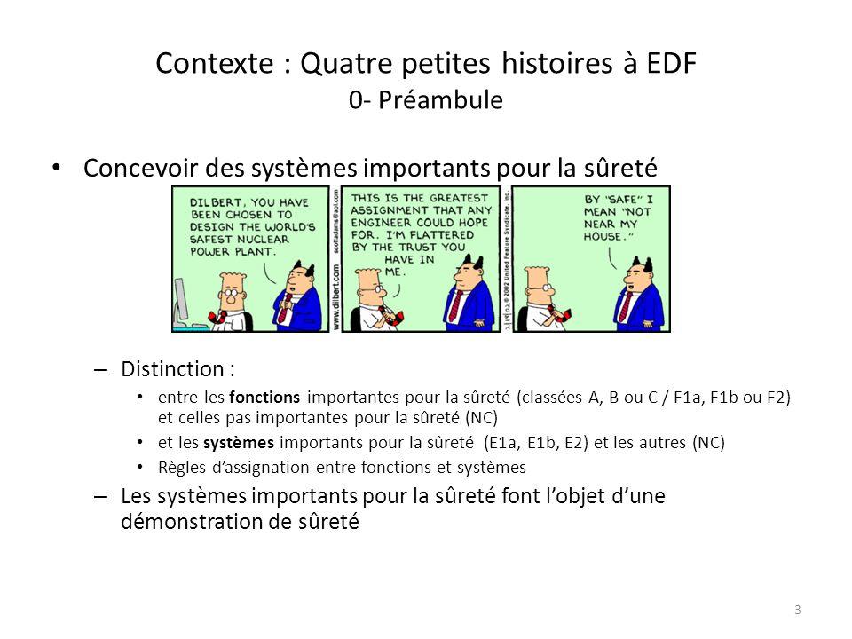 Contexte : Quatre petites histoires à EDF 0- Préambule Concevoir des systèmes importants pour la sûreté – Distinction : entre les fonctions importante