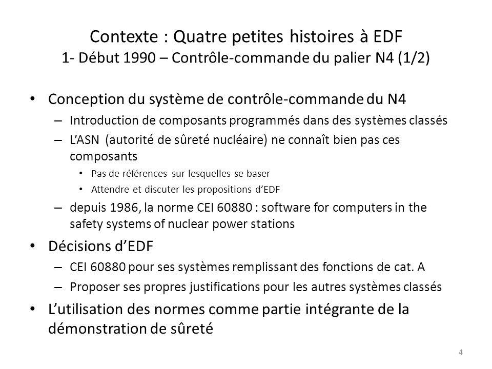 Contexte : Quatre petites histoires à EDF 1- Début 1990 – Contrôle-commande du palier N4 (1/2) Conception du système de contrôle-commande du N4 – Intr