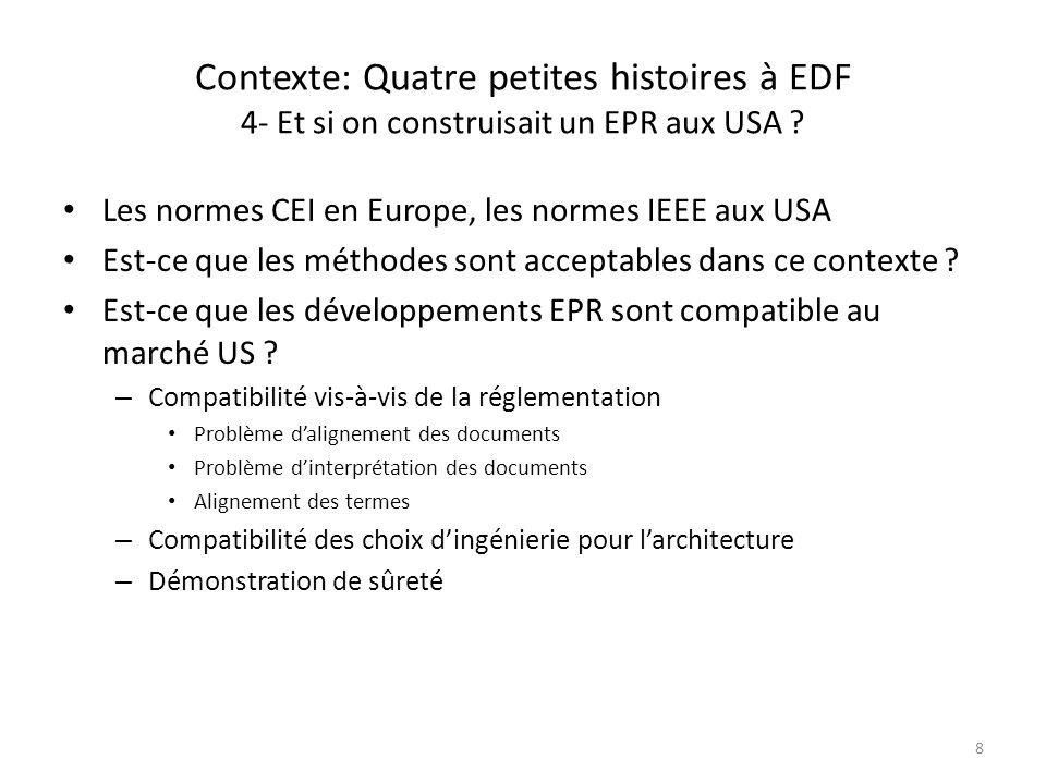 Contexte: Quatre petites histoires à EDF 4- Et si on construisait un EPR aux USA ? Les normes CEI en Europe, les normes IEEE aux USA Est-ce que les mé